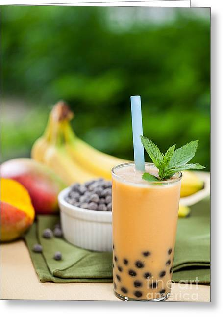 Mango Greeting Cards - Bubble Tea Greeting Card by Leslie Banks