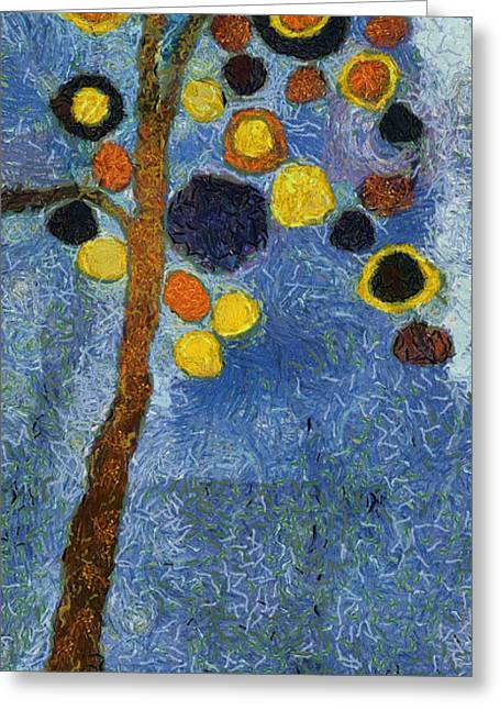 Van Gogh Style Greeting Cards - Bubble Tree - 8586v03r Greeting Card by Variance Collections