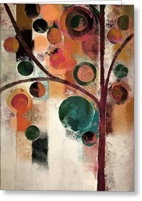 Cubist Greeting Cards - Bubble Tree - j08688 Greeting Card by Variance Collections