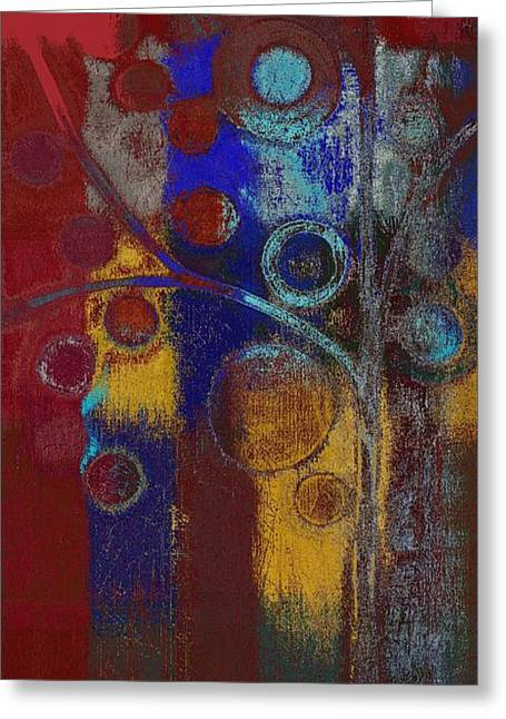 Blue Red Trees Greeting Cards - Bubble Tree - Rd01l Greeting Card by Variance Collections