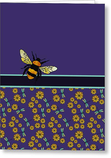Blue Grapes Greeting Cards - Bubblebee and Friends Greeting Card by Jenny Armitage