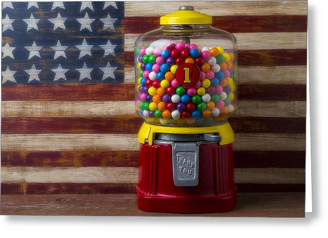 American Folk Art Greeting Cards - Bubblegum machine and American flag Greeting Card by Garry Gay