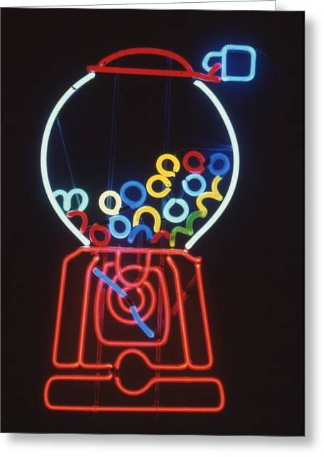 Neon Glass Art Greeting Cards - Bubblegum Machine Greeting Card by Pacifico Palumbo