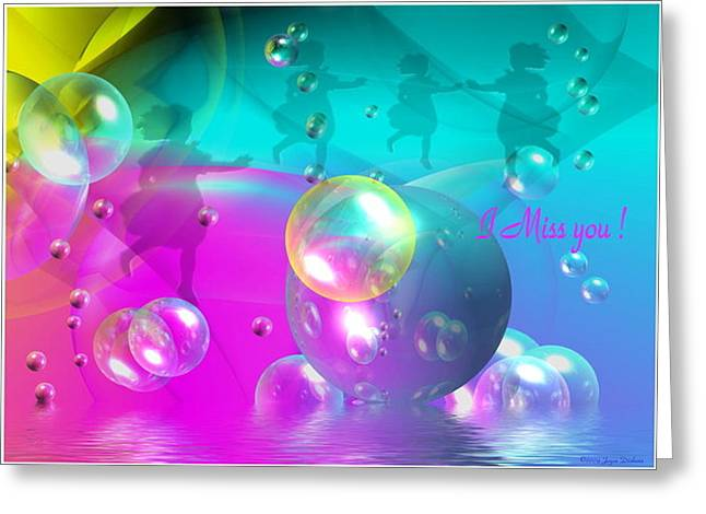 Best Ocean Photography Greeting Cards - Bubbleocean Four Girls I Miss You Greeting Card by Joyce Dickens