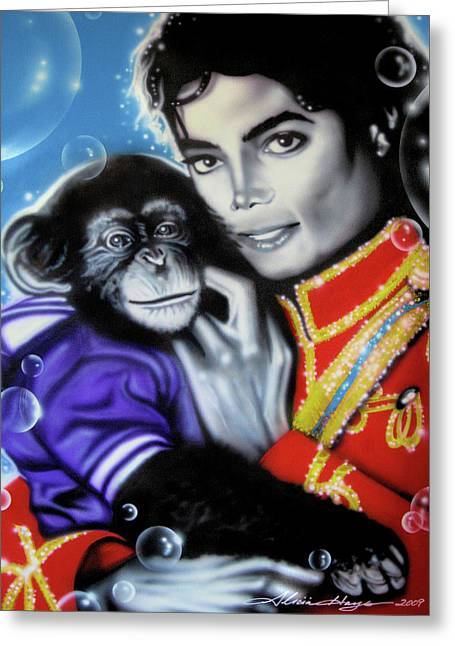 Michael Jackson Greeting Cards - Bubbles Greeting Card by Alicia Hayes