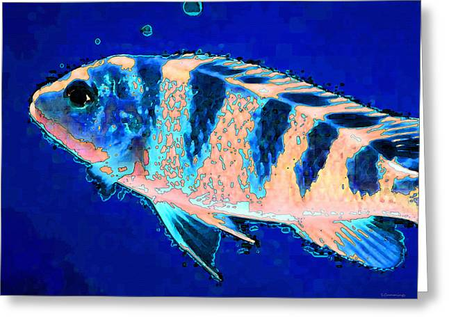 Recently Sold -  - Snorkel Greeting Cards - Bubbles - Fish Art By Sharon Cummings Greeting Card by Sharon Cummings