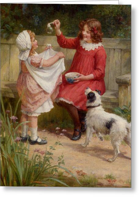 Dogie Greeting Cards - Bubbles Greeting Card by George Sheridan Knowles