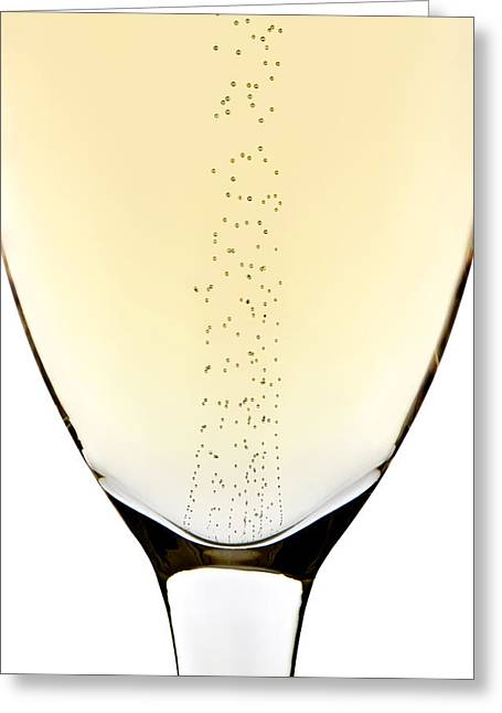 Champagne Glasses Greeting Cards - Bubbles in champagne Greeting Card by Johan Swanepoel