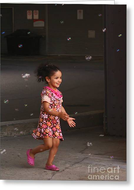Bubbles Make The Happiest Moments Greeting Card by Aimelle