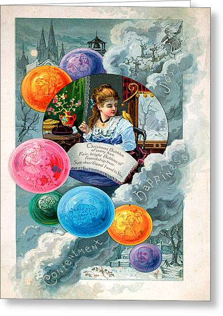 Cards Vintage Greeting Cards - Bubbles Greeting Card by Munir Alawi