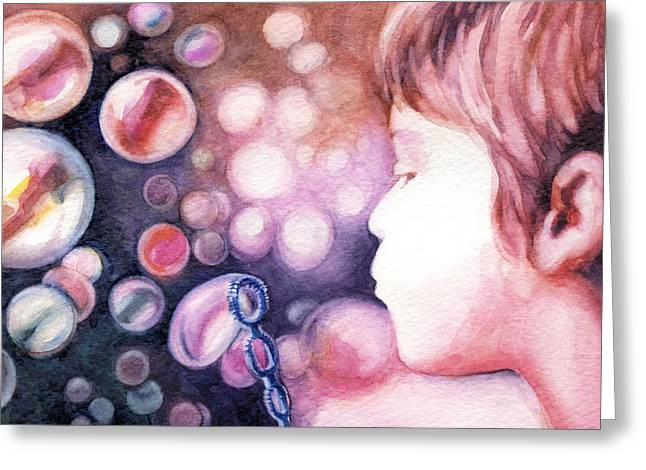 Little Boy Greeting Cards - Bubbles Greeting Card by Natasha Denger
