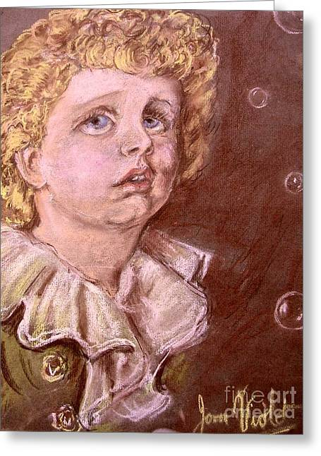 Food And Beverage Pastels Greeting Cards - Bubbles Pastel Portrait Greeting Card by Joan-Violet Stretch