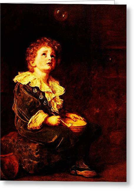 Kilburne Posters Greeting Cards - Bubbles Sir John Everett Millais Greeting Card by MotionAge Designs