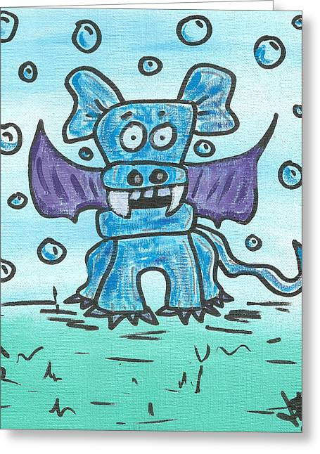 Puppies Drawings Greeting Cards - Bubbles the PupBatDragon Greeting Card by Jera Sky