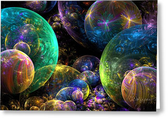 Apophysis Digital Art Greeting Cards - Bubbles Upon Bubbles Greeting Card by Peggi Wolfe