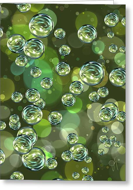 Green Abstract Greeting Cards - Bubbles Greeting Card by Veronica Minozzi