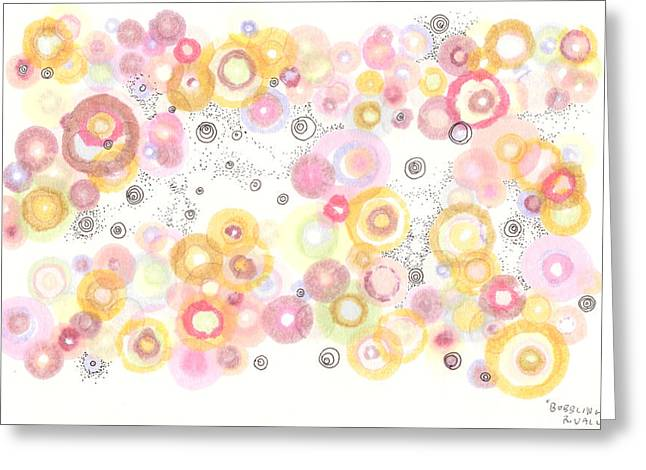 Disk Drawings Greeting Cards - Bubbling Away Greeting Card by Regina Valluzzi