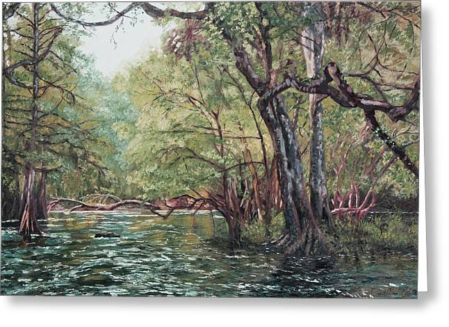 Gnarly Greeting Cards - River in the Woods Greeting Card by George  Voyajolu