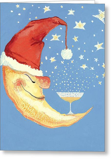Crescent Greeting Cards - Bubbly Christmas Moon Greeting Card by David Cooke