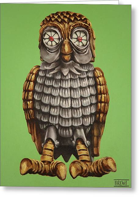 Mythology Pastels Greeting Cards - Bubo Greeting Card by Brent Andrew Doty