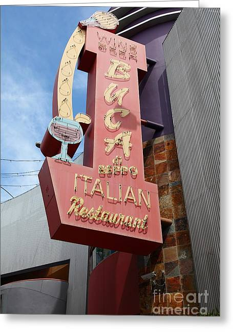 Italian Shopping Photographs Greeting Cards - Buca Italian Restaurant Universal Studios City Walk Hollywood in Los Angeles California 5D28412 Greeting Card by Wingsdomain Art and Photography