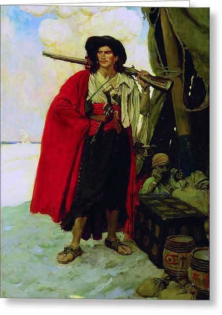 Buccaneer Paintings Greeting Cards - Buccaneer of the Caribbean Greeting Card by Howard Pyle