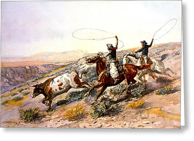 Buccaroos Greeting Card by Charles Russell