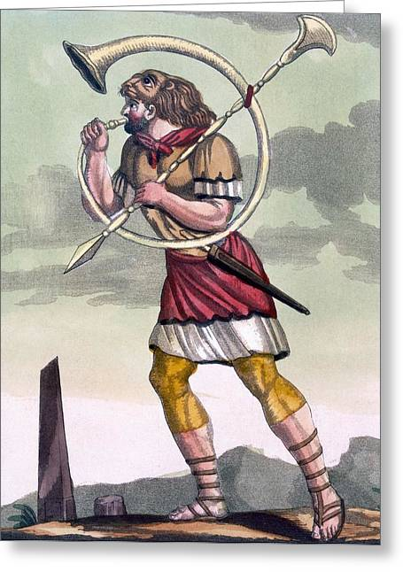 Ancient Rome Greeting Cards - Buccinatore, Military Horn-blower Greeting Card by Jacques Grasset de Saint-Sauveur