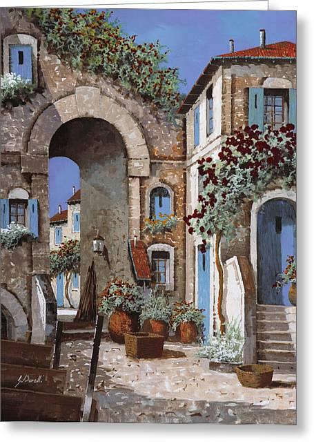 Cart Greeting Cards - Buchi Blu Greeting Card by Guido Borelli