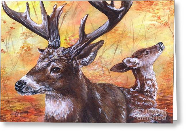 Fall Scenes Drawings Greeting Cards - Buck and Fawn Greeting Card by Sharon Molinaro