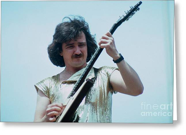 Cult Photos Greeting Cards - Buck Dharma of Blue Oyster Cult at Day on the Green in Oakland Greeting Card by Daniel Larsen