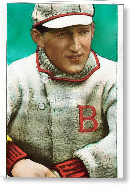 Baseball Art Photographs Greeting Cards - Buck Herzog Boston Braves Baseball Card 0500 Greeting Card by Wingsdomain Art and Photography