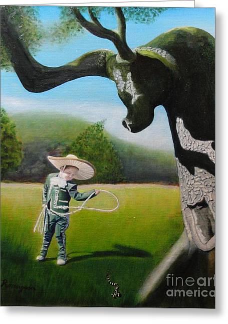 Toreador Paintings Greeting Cards - Buckaroo Greeting Card by Juan Romagosa