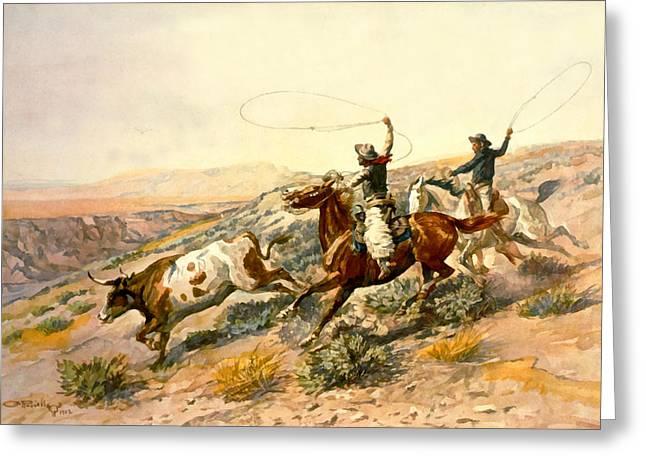 Western Western Art Greeting Cards - Buckaroos Greeting Card by Charles Russell