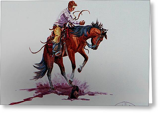 Bronc Greeting Cards - Bucker Greeting Card by Randy Follis