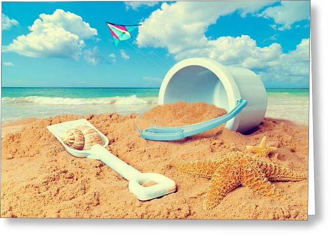 Golden Sand Greeting Cards - Bucket and Spade on Beach Greeting Card by Amanda And Christopher Elwell
