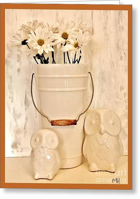 Ceramic Digital Art Greeting Cards - Bucket of Daisies Greeting Card by Marsha Heiken