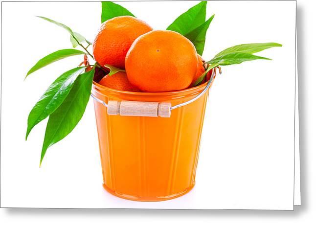 Tangerine Greeting Cards - Bucket of fresh mandarins Greeting Card by Anna Omelchenko