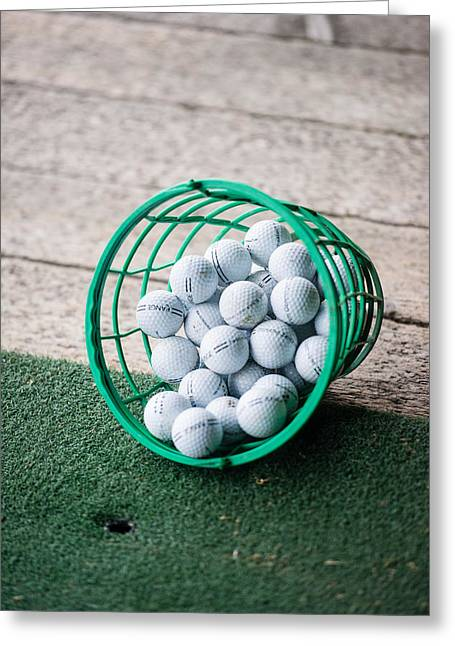 Basket Ball Game Greeting Cards - Bucket of Practice Golf Balls Greeting Card by Frank Gaertner