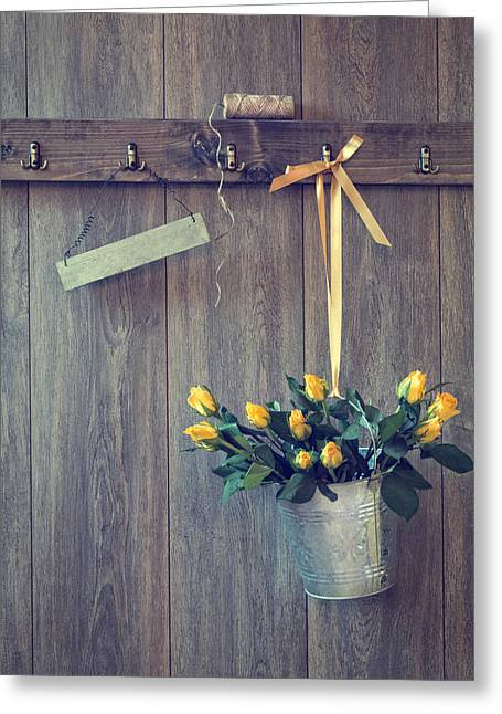 Sheds Greeting Cards - Bucket Of Roses Greeting Card by Amanda And Christopher Elwell