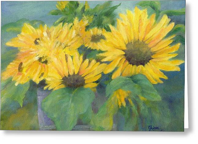 K Joann Russell Greeting Cards - Bucket of Sunflowers Colorful Original Painting Sunflowers Sunflower Art K. Joann Russell Artist Greeting Card by K Joann Russell