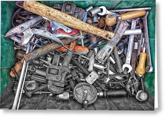 Hardware Mixed Media Greeting Cards - Bucket Of Tools SC Greeting Card by Thomas Woolworth