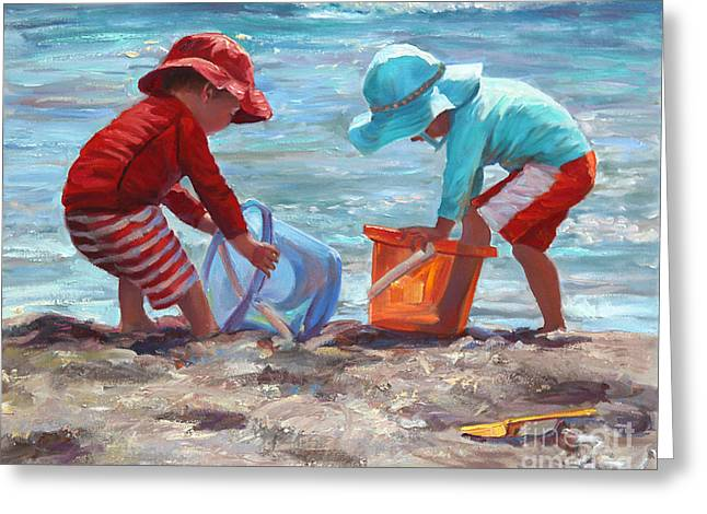 Sand Castles Paintings Greeting Cards - Buckets of Fun Greeting Card by Laurie Hein