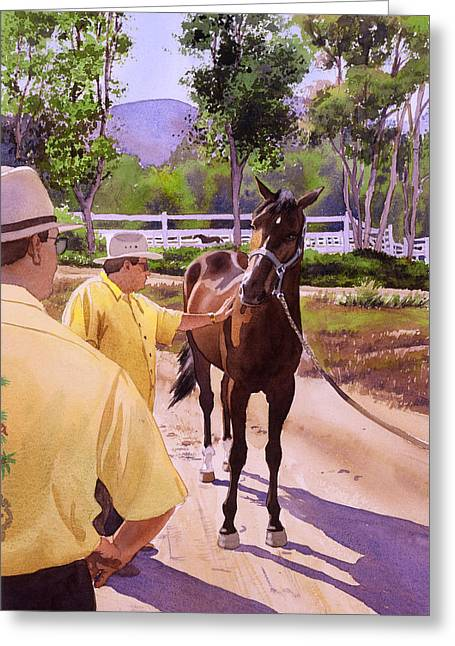 Race Horse Greeting Cards - Buckets of Money Honey Greeting Card by Mary Helmreich
