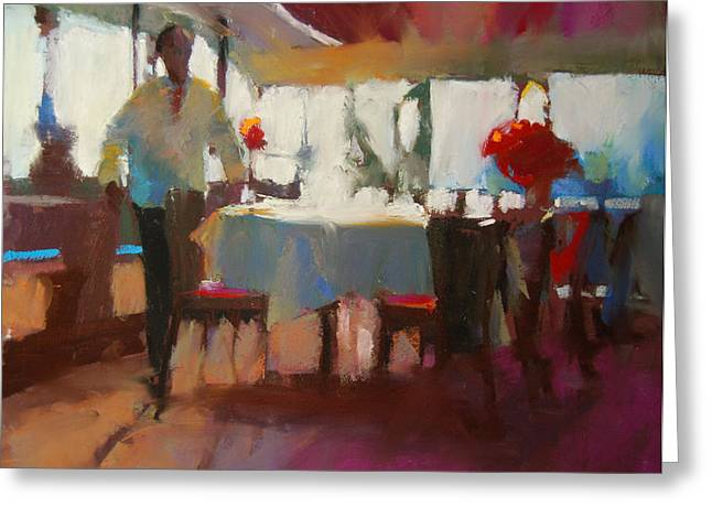 Featured Pastels Greeting Cards - Buckhead Diner Greeting Card by Margaret Dyer