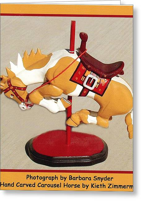 Wood Carving Digital Art Greeting Cards - Bucking Bronco Carousel Horse Greeting Card by Barbara Snyder and Keith Zimmerman