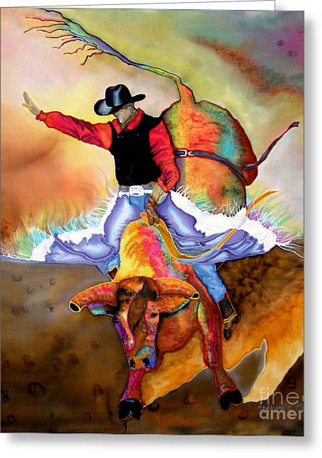Pbr Greeting Cards - Bucking Bull Greeting Card by Anderson R Moore