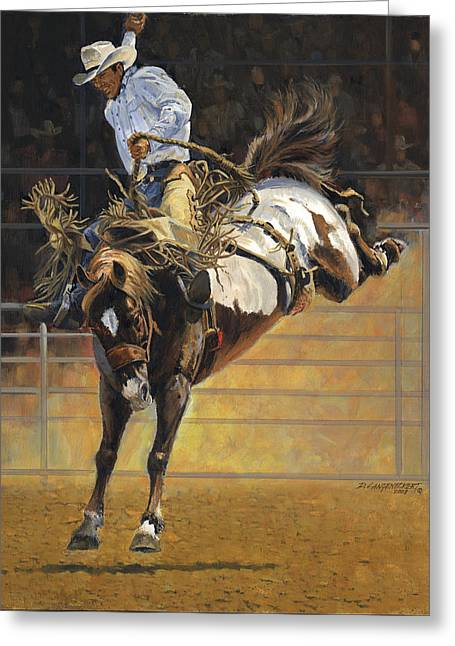 Bucking Horses Greeting Cards - Cowboy Bucking Bronco Greeting Card by Don  Langeneckert