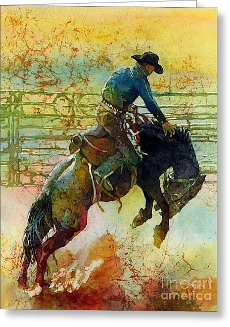 Bronc Greeting Cards - Bucking Rhythm Greeting Card by Hailey E Herrera