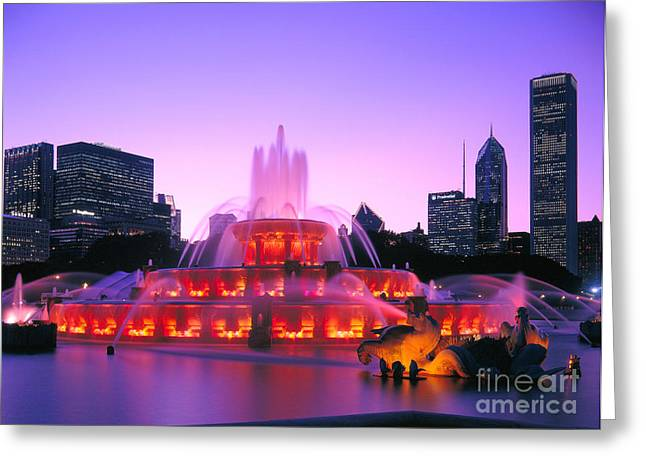 Fountain Photograph Greeting Cards - Buckingham Fountain # 3 Greeting Card by Thomas Firak